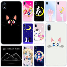 luxury Soft Silicone Case Anime sailor moon lune cat for