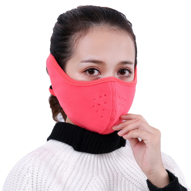 DIHOPE Winter Warm Thermal Breathable Respirators Outdoor Riding Cotton Velvet Masks Men Women Windproof Earmuffs Mouth-muffle