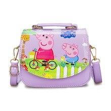 Peppa Pig Childrens Backpack Crossbody Bag George Cartoon Character Printing PU Material Waterproof Little Girl Purse Gifts