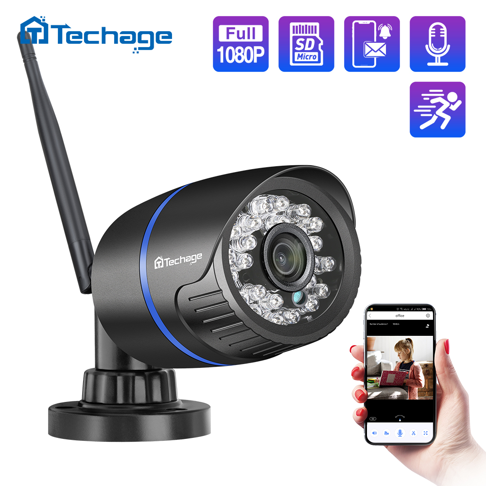 Techage 1080P Wireless Wifi IP Camera TF Card Audio Record 2MP IR Cut Night Vision P2P Onvif CCTV Outdoor Video Surveillance