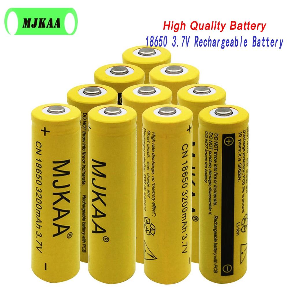 Nuovo Stile MJKAA 4pcs 18650 3200mAh 3.7v Batteria Ricaricabile Ad Alta capacità agli ioni di litio Batterie per la Torcia Elettrica Led