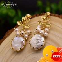 GLSEEVO Natural Fresh Water Baroque Pearl Earrings For Women Plant Leaves Dangle Earrings Luxury Handmade Fine Jewelry GE0308