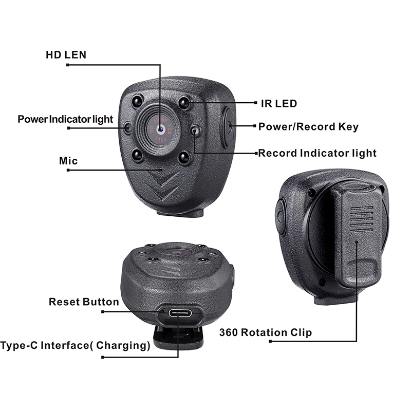 H739a86af383b4e0e81b49fde515e75dfH HD 1080P Police Body Lapel Worn Video Camera DVR IR Night Visible LED Light Cam 4-hour Record Digital Mini DV Recorder Voice 16G