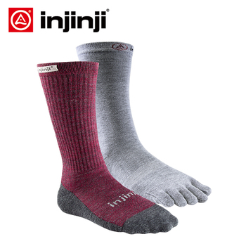 Injinji Women's  Liner+Hiker MidWeight Crew Socks Running Blister prevention Sports COOLMAX Pilates Five Fingers Heated Socks