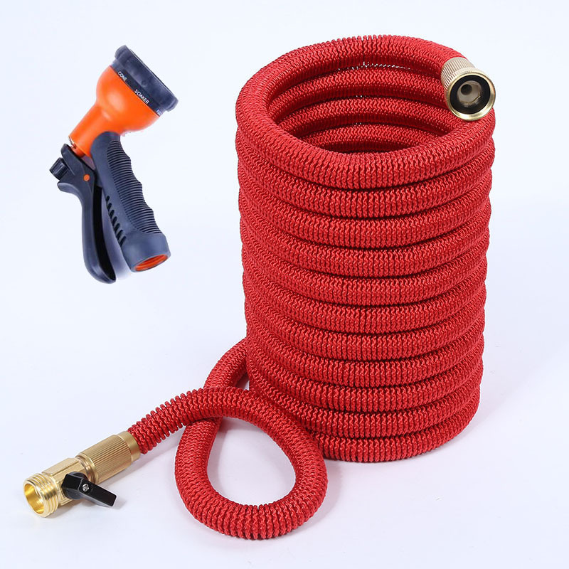 50FT New Style Natural Rubber Europe And America Copper Household Car Washing Gun Three Times Extendable Irrigation Pipe Wholesa