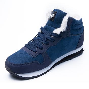 Moda nowe buty zimowe męskie buty ciepłe pluszowe śniegowce mężczyźni trampki buty zimowe męskie buty obuwie męskie buty dla dorosłych męskie buty tanie i dobre opinie Quanzixuan Buty śniegu CN (pochodzenie) Flock ANKLE Stałe Fabric Okrągły nosek RUBBER Zima Mieszkanie (≤1cm) 11-6622-2