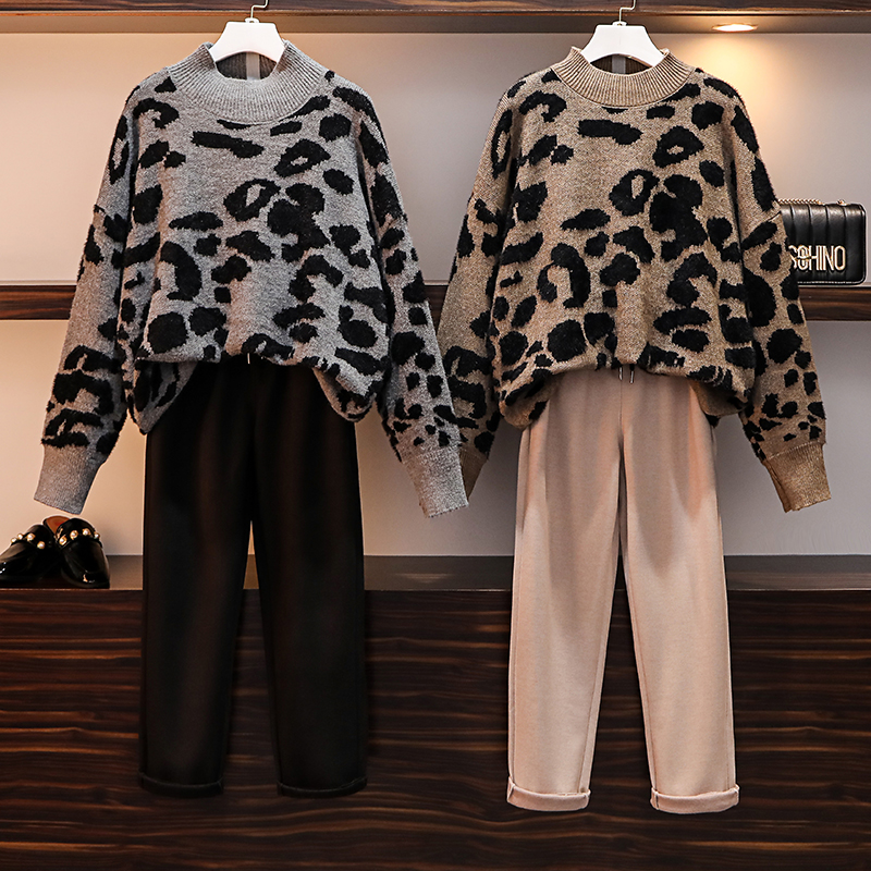 HAMALIEL Fashion Leopard Print Kntted O Neck Thick Losse Sweater Women 2 Pant Set And Fall Winter Woolen Casual Trousers Suit