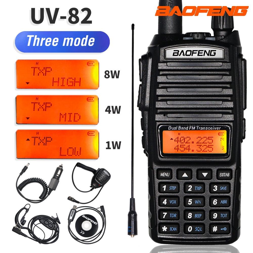 Tri-Power BaoFeng UV-82 8W Two Way Radio UV-82 Walkie Talkie UV 82 Dual Band UHF VHF Handheld FM Transceiver 10KM Ham CB Radio