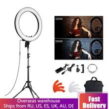 18 inch LED Ring Light Camera Photo Studio Phone Video Lamp with Stand Makeup Mirror Portable Photographic Lighting(China)