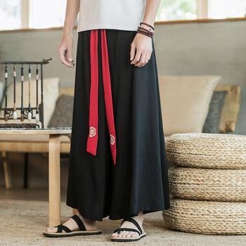 Chińskie tradycyjne Kung Fu Wushu spodnie odzież dla mężczyzn męskie lniane styl orientalny Cargo spodnie szerokie nogawki chińskie spodnie 10891 tanie i dobre opinie Tangslady Poliester Suknem WOMEN