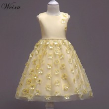 Weixu Flower Princess Dresses for Girls Infant Kids Summer Yellow Sleeveless Costume Party Dress for Teenager Girl 3-7 Years Old 2016 summer baby girl dress princess kids party dress cotton casual flower print girls dresses sleeveless us 3 9 years zk0512
