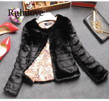 Rubilove Women Winter Retro Faux Fur Coat Lady High Vintage Slim Furry Long Sleeve Mori Short Design Jacket White Black Outwear