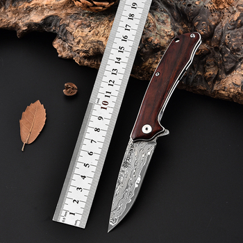TIGEND Bearing knife damascus knife folding pocket army knives hunting knife survival straight tactical utility outdoor knife stenzhorn new damascus black antelope folding knife outdoor portable field army high hardness wilderness survival small knives