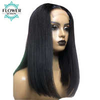 13x6 Short Bob Cut Wigs Straight Lace Front Human Hair Wigs Pre Plucked Fake Scalp Lace Wig Brazilian Remy Bleached FlowerSeason