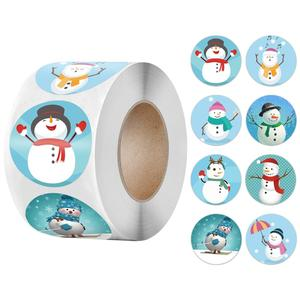 50-500pcs seal label sticker Merry Christmas sticker 1 inch snowman Christmas, for party DIY packaging stationery sticker