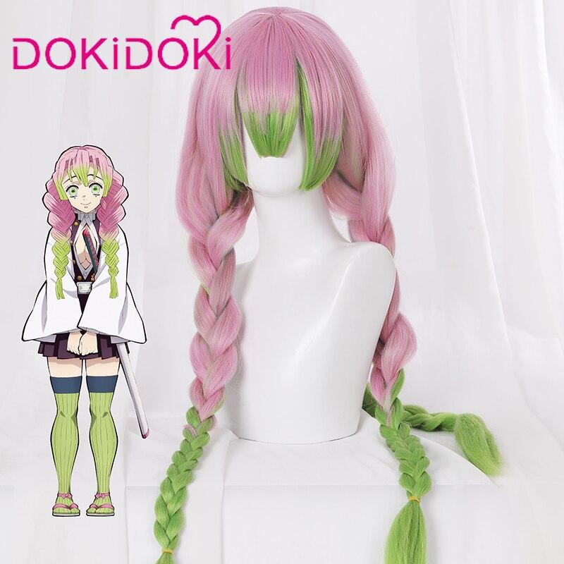 DokiDoki Anime Demon Slayer: Kimetsu No Yaiba Cosplay Wig Kanroji Mitsuri Hair Women Long Pink&Green Hair Kimetsu No Yaiba Wig