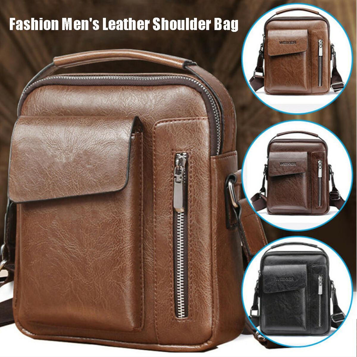 Vintage Messenger Bag Men Shoulder Bag PU Leather Fashion Crossbody Bags For Men Bags Retro Zipper Man Business Handbag