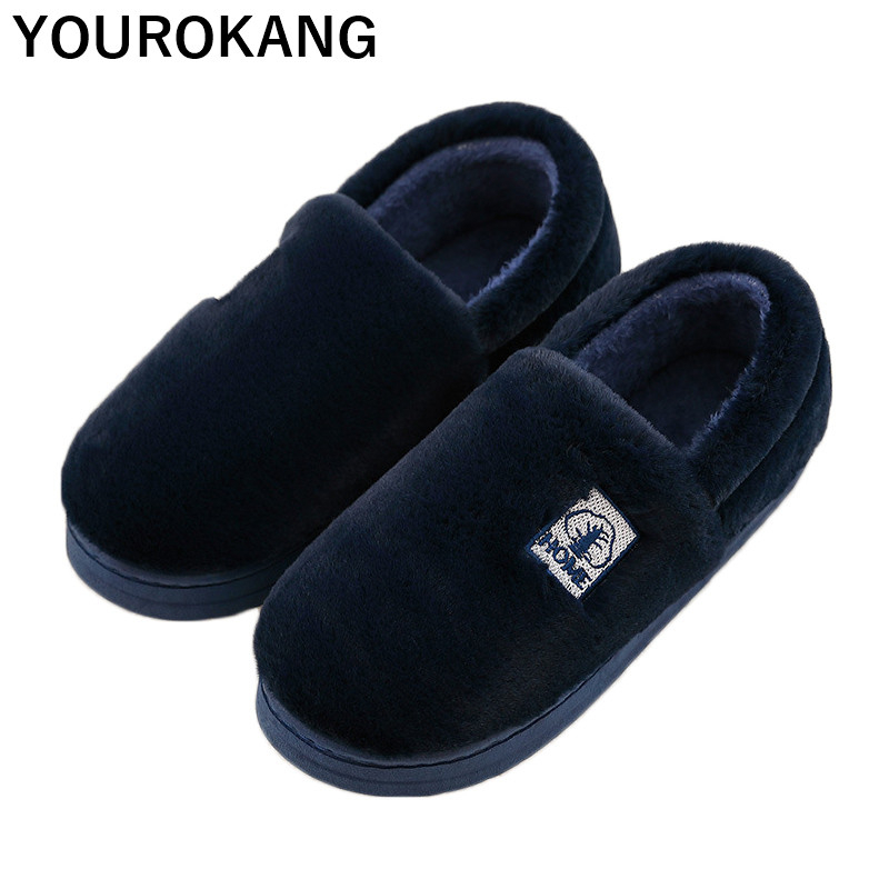 Men Winter Shoes Warm Plush Male Home Slippers Indoor Soft Furry Cotton Shoe For Lovers 2019 New Bedroom Floor Antiskid Footwear