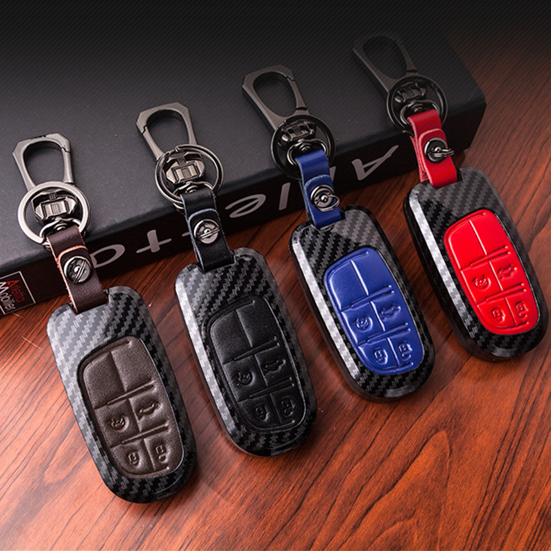 Carbon Fiber Car <font><b>Remote</b></font> <font><b>Key</b></font> Case Cover For Fiat Dodge Charger Dart Challenger Durango <font><b>Jeep</b></font> Chrysler 300C Grand Cherokee Compass image