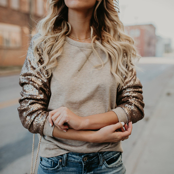 Autumn Winter Pullover Tops Women Europe And The United States New Sequins Patchwork Solid Color Shirt Female Khaki S-XL deputy united states photoelectric s honeywell hoa1887 012