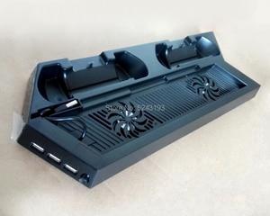 Image 3 - Için PS4 Ultrathin şarj ısı emici soğutma fanı soğutucu dikey stant Sony Playstation 4 için çift kontrolörleri şarj