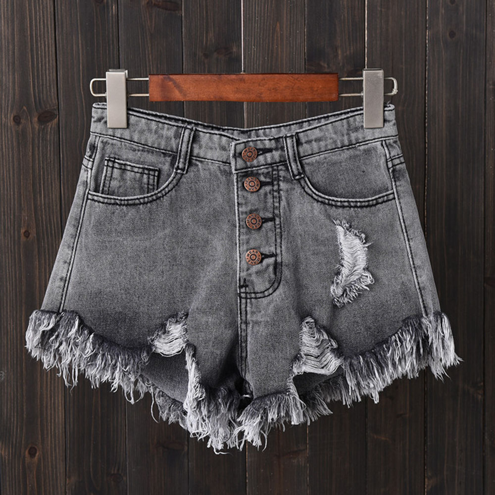 SHUJIN 2020 Women Sexy Tassel Hole Shorts Jeans Denim Short Pants Women'S Denim Shorts Pantalones Cortos Mujer
