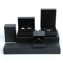 Квадрат/прямоугольник высококачественные кожаные бумага черная коробка ювелирных изделий организатор для серьги ожерелье браслет дисплей держатель подарок новый