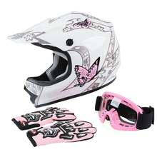 TCMT Motorcycle DOT Youth Kids Full Face Helmet Goggles Gloves Off-Road Bike ATV Pink Red