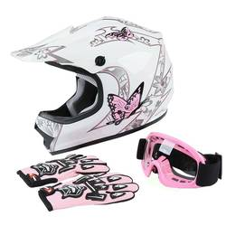 TCMT Motorcycle DOT Youth Kids Full Face Helmet Goggles Gloves Off-Road Bike ATV Pink Red