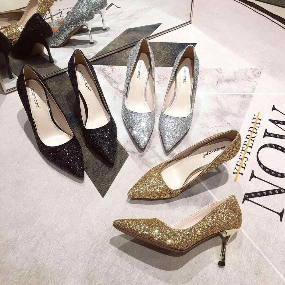 รองเท้าส้นสูงของผู้หญิง 2019 ฤดูใบไม้ร่วงรองเท้าผู้หญิงใหม่ stiletto ปากตื้นชี้เซ็กซี่ทองเงินรองเท้าแต่งงานเจ้าสาวแพลตฟอร์ม