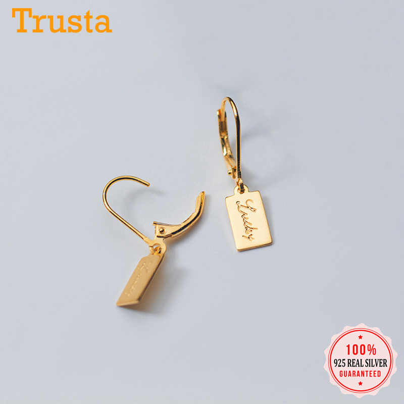 Trusta Womens Fashion 100% 925 Solid Sterling Silver Lucky Letter Charm Stud Earrings For Women Sterling-silver-jewelry DS906