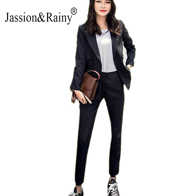 2016 Korean Fan Spring Fashion Leisure All match Two Piece Thin Trousers Temperament pure black color elegant female trends Suit