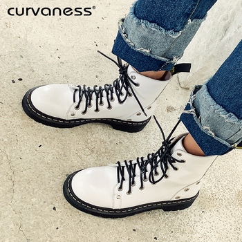 Curvaness 2019 Boots Women Genuine Leather Shoes Winter Boots Rivet Woman Casual Spring Botas Mujer Female Ankle Boots