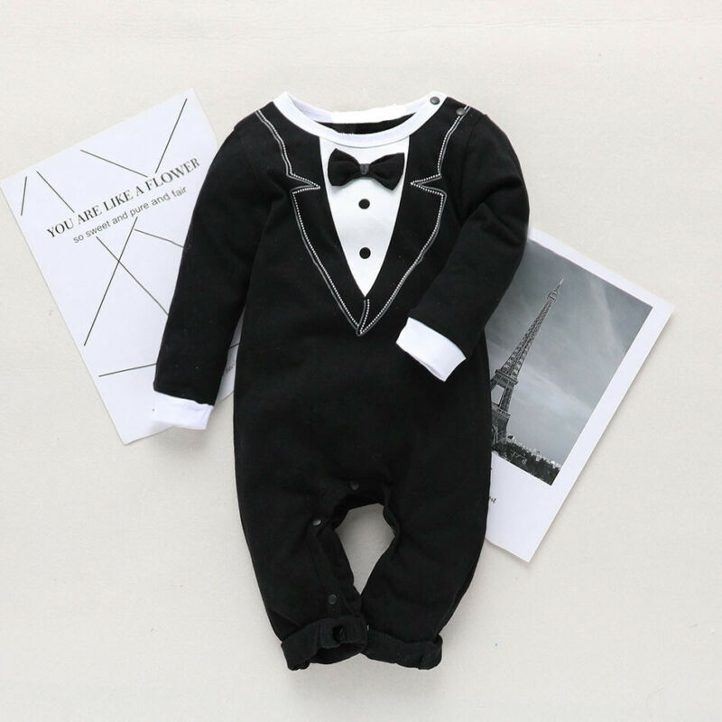 Newborn Baby Boy Christening Tuxedo Formal Romper Jumpsuit Long Sleeve Cotton Tie Jumpsuit Suit Clothes Baby Boy Clothing