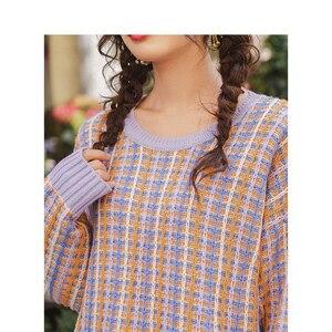 Image 5 - Inman primavera outono o pescoço manga gota ombro bonito colorido jovem menina jacquard xadrez feminino pulôver