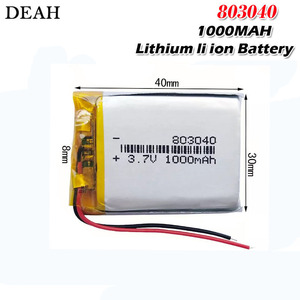 1000mah 3.7v 803040 lithium li polymer rechargeable battery for electronic book tablet toys Mobile Pocket replacement batteries(China)
