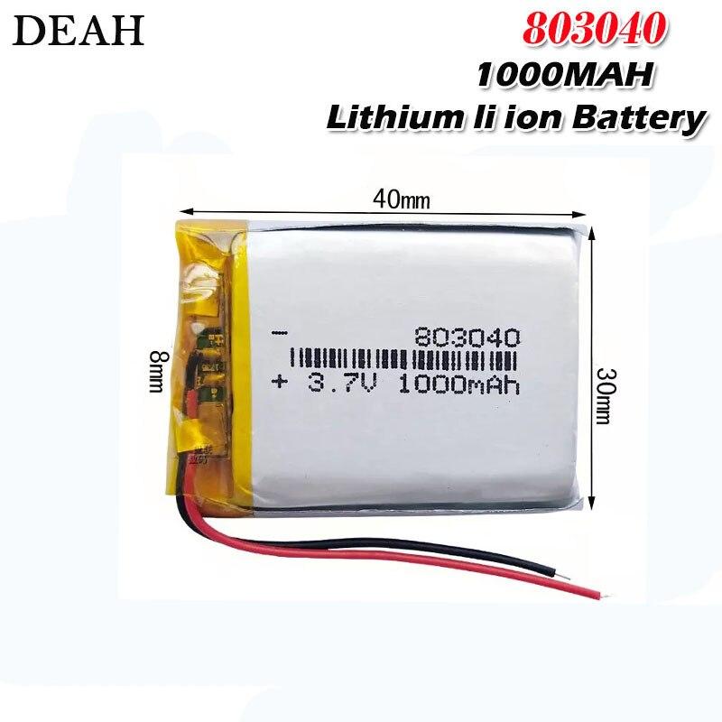 Bateria recarregável do polímero do lítio de 1000mah 3.7v 803040 li para a tabuleta eletrônica do livro brinca baterias móveis da substituição do bolso