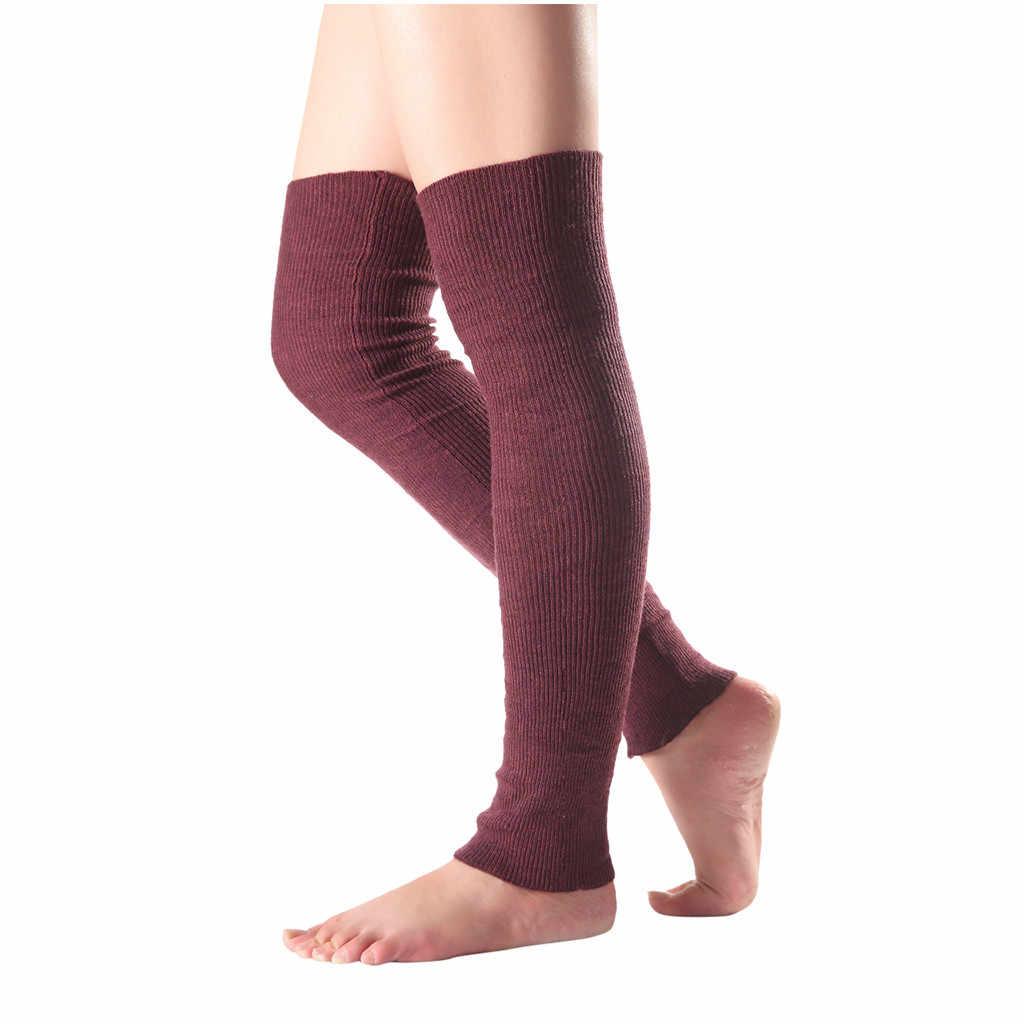 Vrouwen Pure Kleur Wollen Lange Over Knieën Been Kromtrekken Gebreide Boot Cover Sokken Knie Bescherming Sokken Winter Warm Katoenen Sokken
