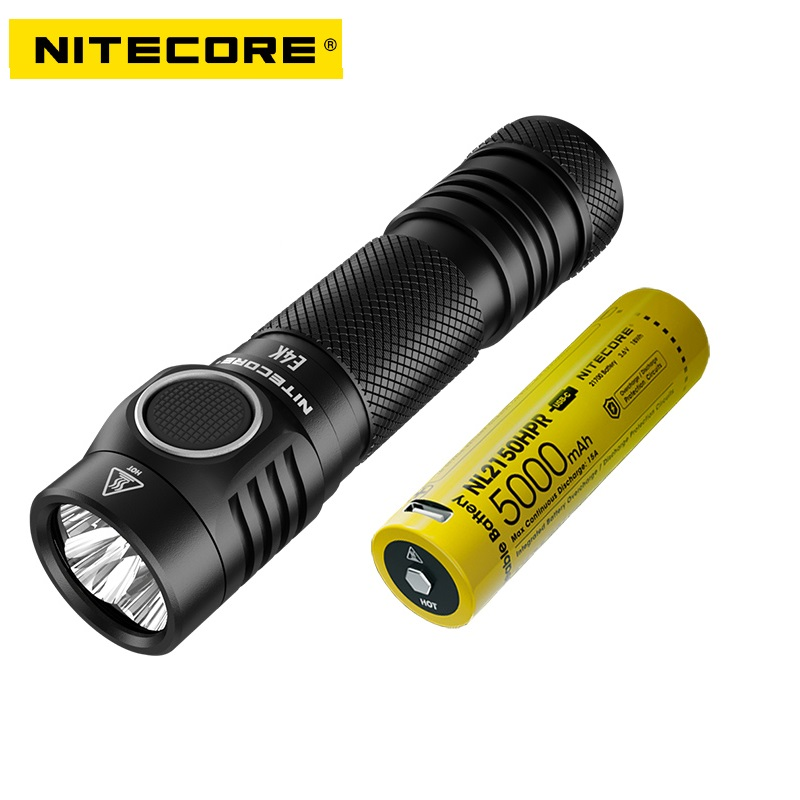NITECORE E4K LED Flashlight CREE XP-L2 V6 4400 LM Powerful EDC Tactical Light with 21700 Battery Outdoor Camping Fishing Search
