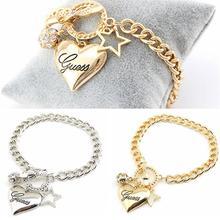 Модные женские украшения кристалл манжета браслет цепочка подвеска шар пентаграмма сердце браслет Шарм вечерние свадебные аксессуары