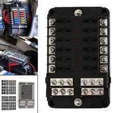 Truck DC 12 32V Motorhome Coach Boat Bus Bar Power Distribution Block Double Busbars 6 way12 way Fuse Box with LED Lights 100Amp