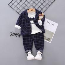 цена на Baby Clothes Fashion Suit Coat Shirt Trousers Three-piece Suit Autumn Children Turn-down Collar Cartoon Kids Clothing Leisure