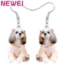 ARWA acrílico sentado chino Shih Tzu perro mascota pendientes impresión colgante de animal gota joyería para las mujeres chico accesorios de regalo de moda