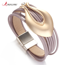 Amorcome Leather Bracelets for Women Vase Shape Charm Bracelets & Bangles Fashion Jewelry