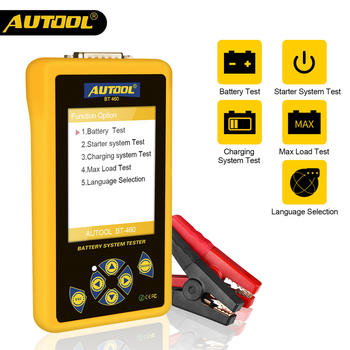 AUTOOL BT460 Car Battery Tester 12V 24V Multifunction Charging System Analyzer Test With 4inch Colorful Display for