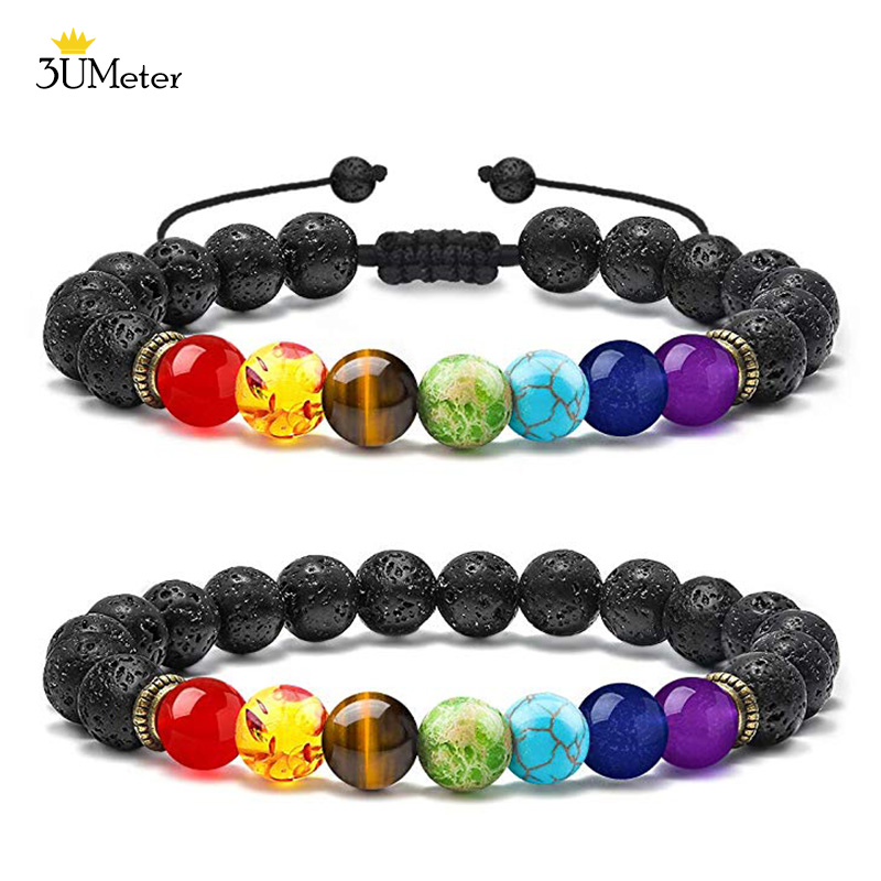 Bead Chakra Bracelet 7 Chakras Lava Rock Stone Bracelet Natural Stone Yoga Beads Bracelets Relax Healing Bangle for Men Women