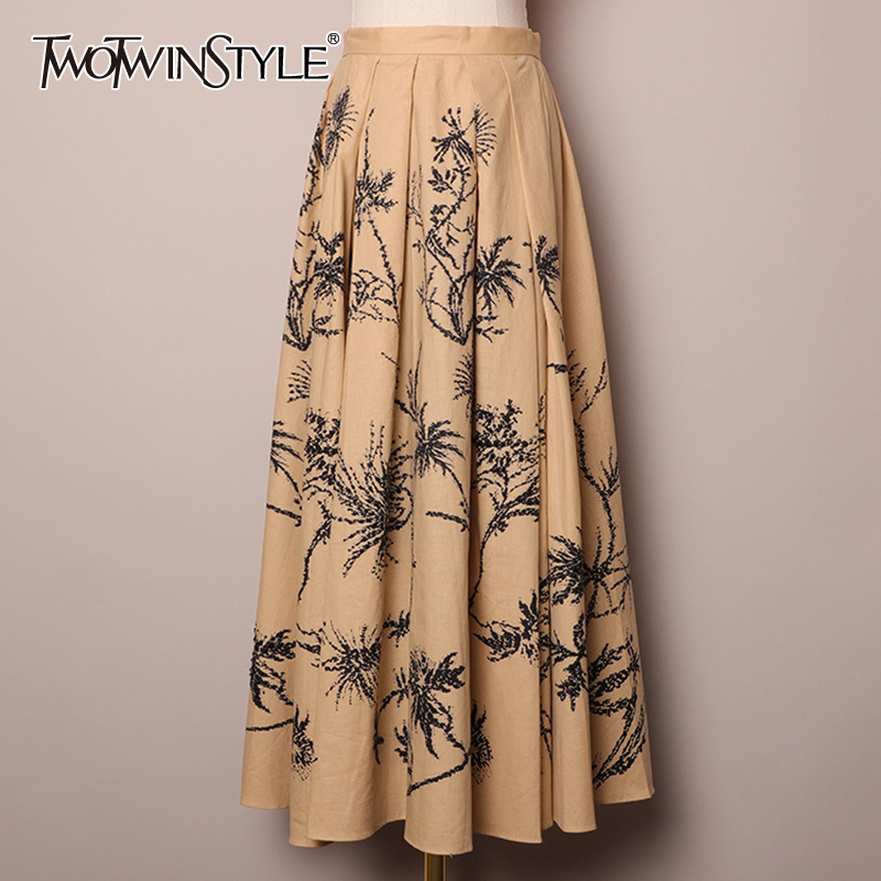 TWOTWINSTYLE Vintage Patchwork Rivets Women Skirts High Waist Ruched Loose Print Hit Color A-Line Skirt Female Fashion Clothing