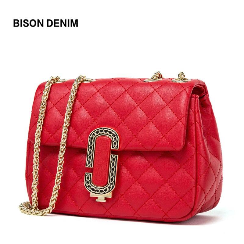 BISON DENIM Leather Bag for Women Diamond Lattice Luxury Messenger Bag Women Ladies Chain Crossbody Bag bolsa feminina B1546