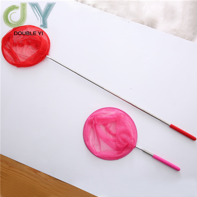 Free Shipping Rose Red Stainless Steel Telescopic Nets Insect Nets Butterfly Children Nets Bamboo Nets Fish Protection 2pcs/pack