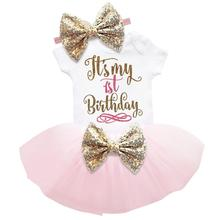 Birthday Outfit Dress Toddler Clothes Christening Gold Girl Infant 1-Year for Tutu-Gown
